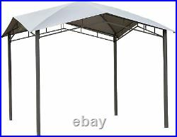 10x10ft Outdoor Canopy Gazebo Soft Top Structure Grey Patio Sunshade Cover Decor