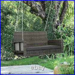 2 Person Outdoor Patio Swing Chair Wicker Adult Hanging Porch Outside Bench Seat