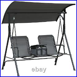 2 Person Steel Outdoor Porch Swing Chair Patio Bench with Storage Canopy, Grey