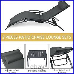 3PC Aluminum Sun Lounger Set Outdoor Pool Beach Chaise Lounge Chair + Side Table