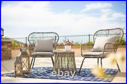 3 Piece Patio 2 Chairs Seating Cushion with Table Bistro Set Outdoor Wicker Grey