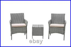 3 Pieces Patio Wicker Conversation Sets Bistro Set Rattan Chair with Cushions