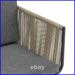 3pcs Outdoor Patio Bistro Chat Set Armrest Rattan with Cushion Seat with Table Grey