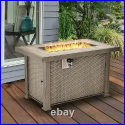 42 Outdoor Patio Backyard Gas Fire Pit Table with Beautiful Slate Tabletop