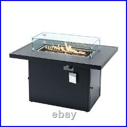 44 in. X 31 in. Rectangular Aluminum Propane Gas Fire Pit Table with windshield