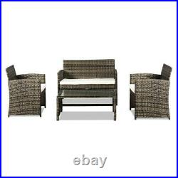 4PC Indoor/Outdoor Patio Lawn Sofa Set Rattan Wicker Furniture Table Cushion New