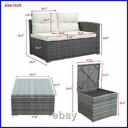 4 Piece Patio Sectional Wicker Rattan Outdoor Furniture Sofa Set with Box Gray