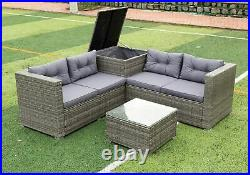 5PCS Patio Furniture Set Outdoor Garden Wicker RattanChair Sectional Sofa Couch