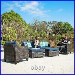 5PC Patio Furniture Gray Rattan Wicker Couch Set Outdoor Sectional Cushined Sofa