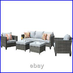 5PC Patio Furniture Rattan Wicker Gray Couch Set Outdoor Sectional Cushined Sofa