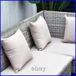 5Pcs Rattan Dining Set Sofa Table Footstool Outdoor with Cushion Garden Furniture