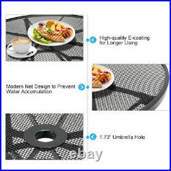 5-Piece Metal Outdoor Dining Set With Round Table 4 Chairs Patio Furniture Grey