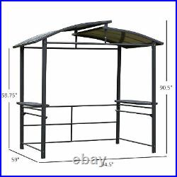 8' x 5' Grill BBQ Gazebo Outdoor with Side Shelves Great Ventilation PC Board