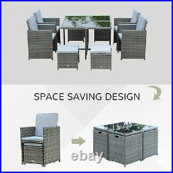 9 Piece Outdoor Dining Set Wicker Rattan Patio Table and Chair Garden Furniture