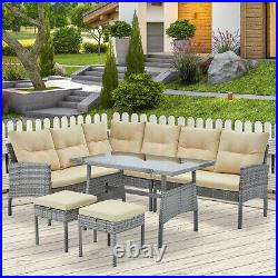 AECOJOY 6pcs Outdoor Furniture PE Rattan Wicker Sofa Set with Dinning Table Chairs