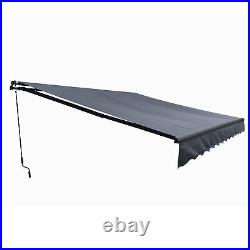 ALEKO Black Frame Retractable Home Patio Canopy Awning 10 x 8 ft Grey Color