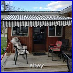 ALEKO Black Frame Retractable Home Patio Canopy Awning 10 x 8 ft Grey/White