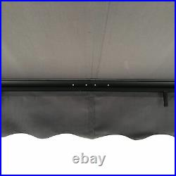 ALEKO Black Frame Retractable Home Patio Canopy Awning 13 x 10 ft Grey Color
