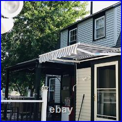 ALEKO Outdoor Grey/White Striped Pattern 12X10ft Retractable Patio Canopy Awning