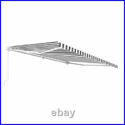 ALEKO Retractable Patio Awning 6.5 X 5 Ft Deck Sunshade Grey and white