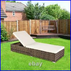 Adjustable Pool Chaise Lounge Chair Outdoor Patio Furniture Wicker with Cushion US