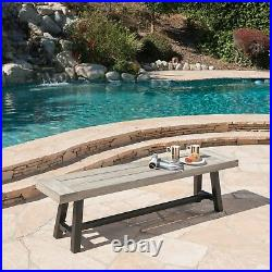 Angelina Outdoor Acacia Wood Dining Bench with Rustic Metal Finish Frame