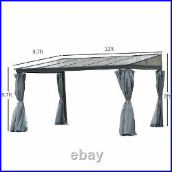 Backyard Patio/Porch Outside Cabana with Durable Aluminum Roof & Netted Curtain