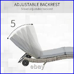 Backyard Patio Wicker Sun Lounge Chair with 2 Wheels for Easy Movement Grey