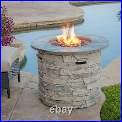 Blomgren 32-inch Stone Circular MGO Fire Pit With Grey Top 40,000 BTU