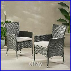 Brascha Contemporary Outdoor PE Wicker Dining Chairs with Cushions (Set of 2)