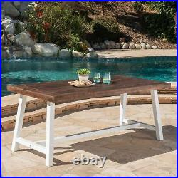 Cassie Outdoor Sandblast Finish Acacia Wood Dining Table with Metal Finish Frame