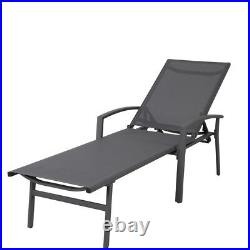 Cast Aluminum Chaise Lounge for Outdoor Living Yard Garden Chair in White/Gray