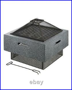Clay Steel Fire Pit Place with Grill Heating Chimenea Garden Outdoor Patio Décor