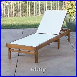 Della Outdoor Mesh Chaise Lounge with Acacia Wood Frame