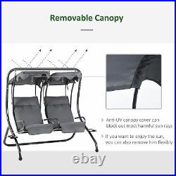 Double Chair Garden Swing Outdoor 2 Person Seater Canopy Cushion Cup Holder Grey