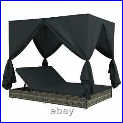 Double Day Bed with Curtains Sun Lounge Canopy Outdoor Rattan Patio Sofa Furniture