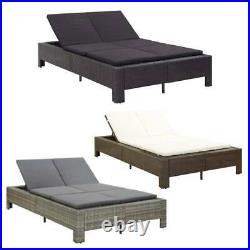 Double Pool Rattan Chaise Lounge Chair Outdoor Patio Sun Bed Furniture Cushion