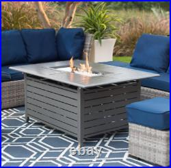 Fire Pit Table LP Gas Outdoor Patio Backyard Heater Aluminum Large Clear Glass