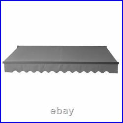 Gray Retractable Patio Canopy Home Awning 12 x 10 ft Yard ALEKO Black Frame New
