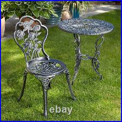 Grey Bistro Set Outdoor Patio Garden Furniture Table and 2 Chairs Seconds
