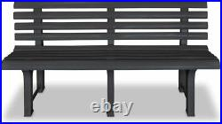Grey Plastic Garden Bench Outdoor Patio Furniture Durable Terrace Three Seater
