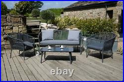 Grey Stackable Outdoor Lounge Set 4 Seater