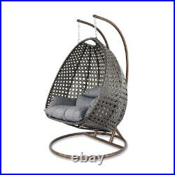 Island Gale 2Person Outdoor Patio Rattan Hanging Wicker Swing Chair Egg Swing XL