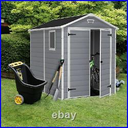 Keter 213413 Manor 6 X 8 DD All Weather Resistant Storage Shed, Grey (For Parts)