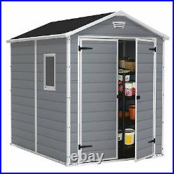 Keter 213413 Manor 6 X 8 DD All Weather Resistant Storage Shed, Grey (Used)