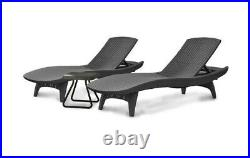 Keter (#222213) Pacific Sun Lounger 2 Chair Dark Grey and Table Set
