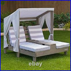 KidKraft Outdoor Double Chaise Lounge with Cup Holders Gray for kids New