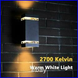 LUTEC 2Pcs Modern Exterior LED Wall Light Square Up and Down Fixture Waterproof
