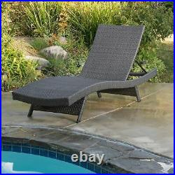 Lakeport Outdoor Grey Wicker Chaise Lounge Chair