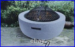 Large Fire Pit Bowl & BBQ Grill Patio Fire LARGE Outdoor Fire Pit 60cm